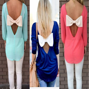 Scoop 3/4 Sleeves Backless Bowknot Back Slim Chiffon Blouse