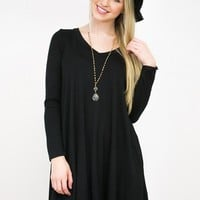 Simple Long Sleeve Dress | Black