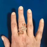 925 Sterling Silver & Solid Copper Wire Wrapped Adjustable Ring Spiral Ring Wire Wrapped Jewelry Handmade Ring Wire Ring Two...