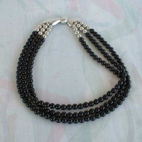 Givenchy Black Bead Triple Strand Necklace Geometric Bow Clasp Vintage Jewelry