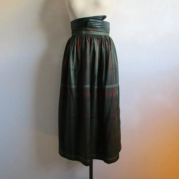 80s Bernard Cowan Plaid Skirt Vintage Green Red Wool Leather 1980s Designer Winter Midi Skirt 7-8