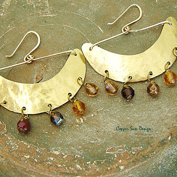 Gypsy Gold Crescent Moon Earrings, Half Moon Beaded Earrings, Golden Amber Color, Boho Chic Jewelry
