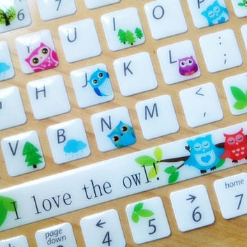 owl Keyboard sticker Fluorescent computer Sticker Laptop PC desktop sticker  Glow In The Dark computer skin cover sticker alphabet sticker