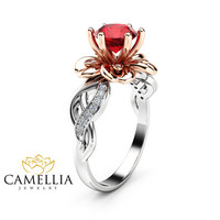 Special Reserved - 2 ct. Natural Ruby Petal Engagement Ring
