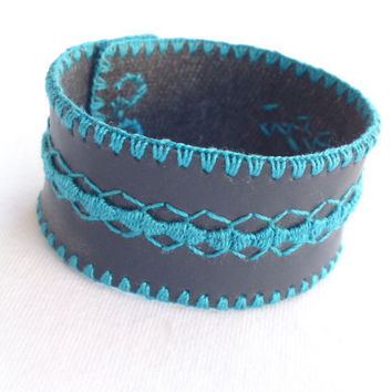 Turquoise embroidered cuff bracelet soft vegan leather with hand embroidery