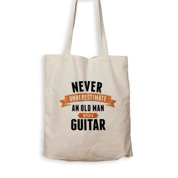 CREYMS2 Never Underestimate an Old Guy With a Guitar - Tote Bag