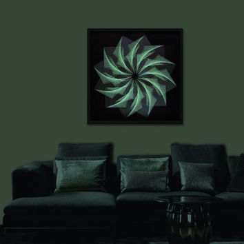 Wall Art Zen in Green, Large Custom UV String Art, Mandala Framed behind glass for Office, Home, Trendy Bars, Clubs, Restaurants, Feng shui