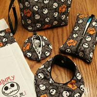 JACK SKELLINGTON Baby Diaper Clutch Diaper Bag Wristlet, Quilted Baby Wipes Case,  Pacifier Pouch Pod Bib & Burp Ultimate Baby Shower Gift
