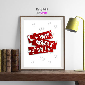 Mother's day printable, Happy Mother's Day print, Red white print, Mother's day wall decor, Greeting cards, Instant download