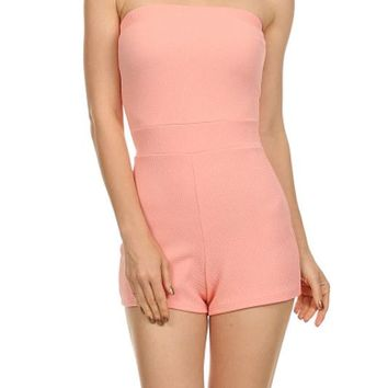 Casual Sexy Solid Colors Strapless Tight Slim Romper Short Jumpsuit