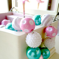 FREE SHIPPING -  Soft Pink and Mint Green Chunky Bubblegum Necklace with Pendant