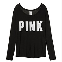 """PINK"" Victoria's Secret  Letter Pattern Loose Shirt Pullover Sweater Blouse Top Black"