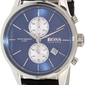 Hugo Boss Black Leather Blue Dial Chronograph Quartz Analog Men's Watch 1513283