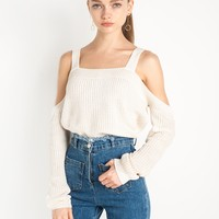 Ivory Shoulder Strap Knit Sweater