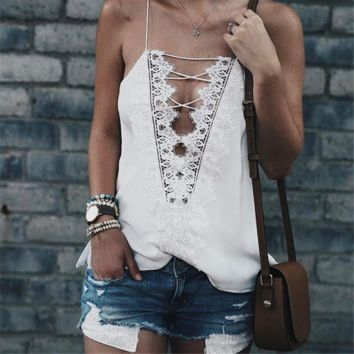 Sexy Summer Lace Splicing Dark V Neck Hollow Straps Fashion Top