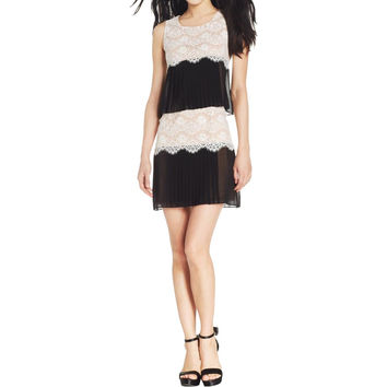 Jessica Simpson Womens Chiffon Lace Overlay Cocktail Dress