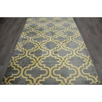 Yellow and Gray Trellis Rug 8 X 10 ft