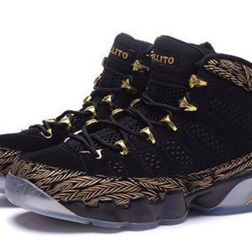 Hot Air Jordan 9 Retro Women Shoes Black Brown Gold