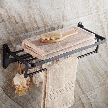European Style Black Wall Mounted Shelf Foldable Aluminum Washcloth Rack Towel Bar Hooks