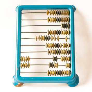 Soviet vintage abacus old Russian calculator blue tone abacus