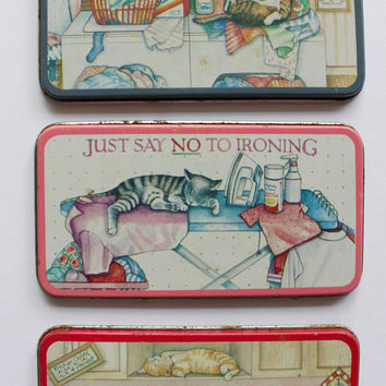 Vintage Metal Just Say No To Chores Magnet Set 1990