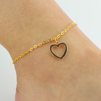 Sexy New Arrival Stylish Gift Jewelry Shiny Cute Ladies Hot Sale Accessory Heart Simple Design Anklet [6464823489]
