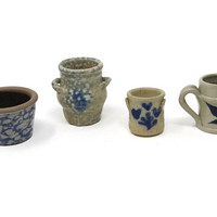 Reserved for Eileen Vintage Miniature Crocks Mixed Lot - Williamsburg Pottery Factory - Lot Of Miniatures Crocks