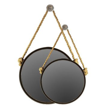 Set Of Two Metal Mirror Round With Knotted Rope Hanger