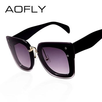 AOFLY Cat Eye Sunglasses Women Brand Designer Square Frame Sunglasses Vintage Luxury Coating Mirror Glasses Cat Mask Oculos