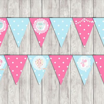 Pink and light blue Printable Hot-Air Balloon Banner Decorations Diy Shower Supply INSTANT DOWNLOAD