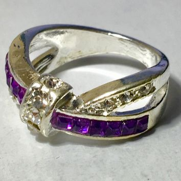 Purple Amethyst Bow Fashion Ring