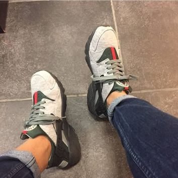 Fashion Online Nike Gucci Drops The Air Huarache Ultra Sports Shoes Gray&green