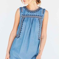 Ecote Embroidered Tencel Shift Dress