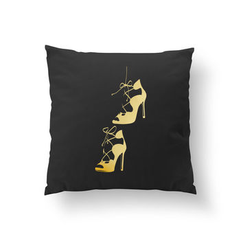 Black High Heels Pillow, Fashion Chic, Gift For Her, Fashion Pillow, Cushion Cover, Throw Pillow,Shoe Pillow, Decorative Pillow,Girly Pillow