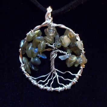 Labradorite Gemstone Tree of Life Necklace