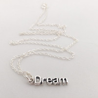 Dream Intention Necklace, 925 Sterling silver Charm and chain, Inspiring word, Statement bracelet, Christmas stocking