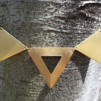 Triangle statement necklace three brass by littlepancakes on Etsy