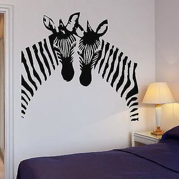Zebra Wall Stickers Vinyl Decal African Animal Couple Decor Murals Unique Gift (ig060)