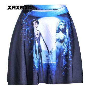 NEW 1162 Summer Sexy Comic Halloween Skull Corpse Bride Printed Cheering Squad Tutu Skater Women Mini Pleated Skirt Plus Size