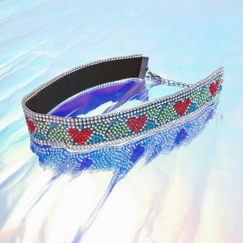 Rainbow heart rhinestone choker retro handmade diy party disco necklace sliver bling holographic galaxy