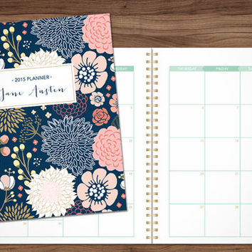 2015 MONTHLY planner custom planner month at a glance planner 2015-2016 calendar MAG / choose your start month / sage pink gold floral