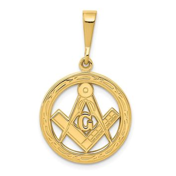 14K Yellow Gold Masonic Pendant