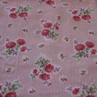 Vintage Fabric Pink Stripes with Pink Maroon and Purple Flowers