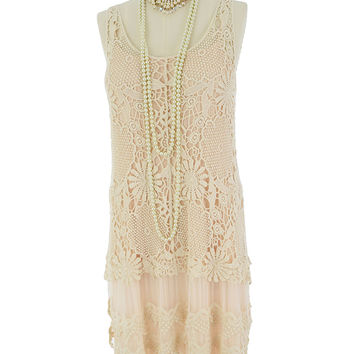Cream Crochet Lace Tulle Chiffon 20 Style Dress