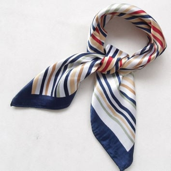2015 New Arrival Fashion Blue Streak Women Polyester Small Square Scarf Printed,British Style Brand Casual Silk Scarf 52*52cm