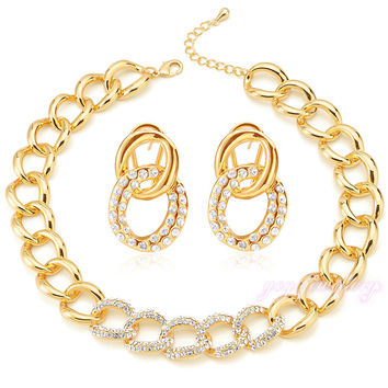 Mytys  Gold Plated Jewelry Sets Big Link Chain Necklace and Earrings Sets Crystal Beaded Jewellery sets CN179
