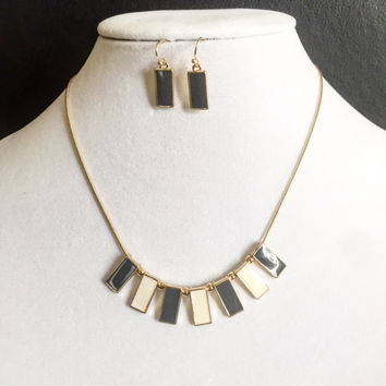 Domino Gold Necklace/Earrings Set
