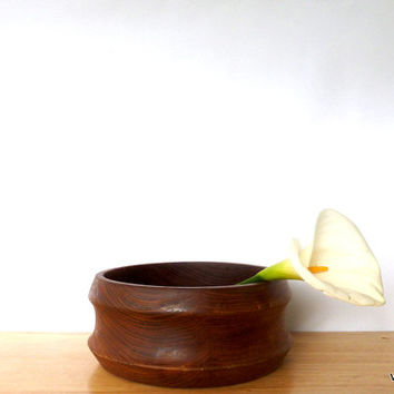 Large Vintage Dark Wood Bowl 1980s Heavy Fruit Bowl Modern Decor Wooden Bowl  Rustic Farmhouse Bowl