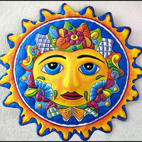 Sun Wall Hanging - Hand Painted Metal Outdoor Garden Art - 24""