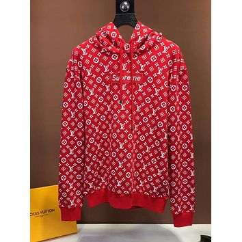 Supreme x LV Louis Vuitton Hooded Fashion Top Sweater Pullover Hoodie